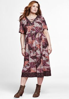 Mixed Print Lace-Up Dress by Chelsea Studio®, BURGUNDY PATCHWORK MIXED PRINT, hi-res