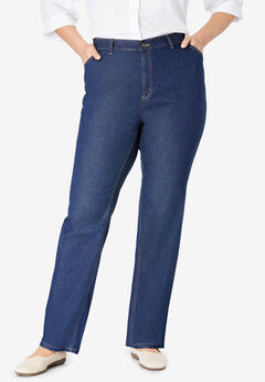 Side-Elastic Straight Leg Cotton Jean,
