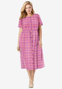 Short-Sleeve Seersucker Dress, SOFT CORAL PRETTY PLAID