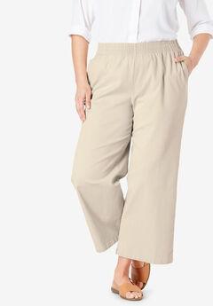 Elastic-Waist Cropped Chino Pant,