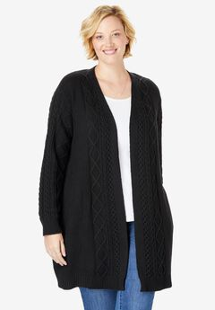 Open Front Cable Knit Cardigan,