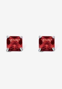 Sterling Silver Stud Princess Cut Simulated Birthstone Stud Earrings,