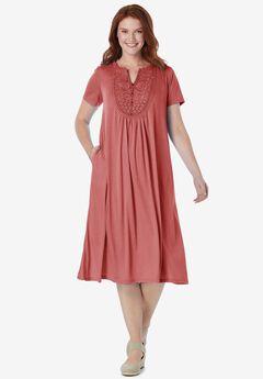EMBROIDERED Lace BIB KNIT DRESS,