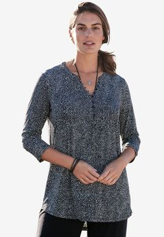 Button-Front Travel Tunic, BLACK IVORY SPRINKLE, hi-res
