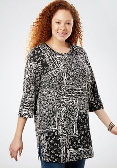 Printed Three-Quarter Sleeve Perfect Tunic, BLACK PATCHWORK