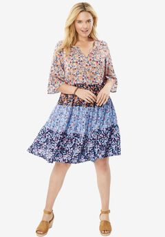Tiered Trapeze Dress, FLORAL MEADOW, hi-res