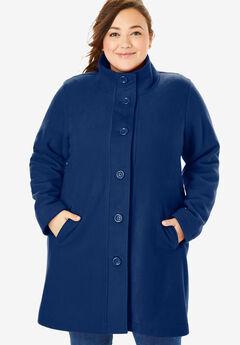 Fleece Swing Funnel-Neck Jacket, EVENING BLUE