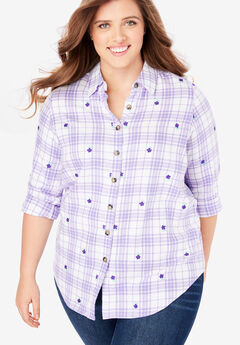 Classic Flannel Shirt, LILAC FLORAL PLAID (YARN-DYE)