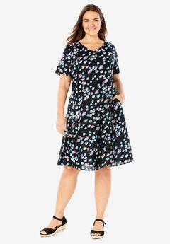 Short-Sleeve V-Neck Rayon Dress,