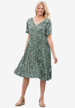 Short empire dress in crinkle rayon crepe,