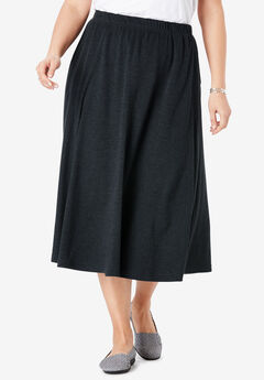 7-Day Knit A-Line Skirt, HEATHER CHARCOAL