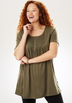 Pintucked knit Henley tunic, SAGE GRASS, hi-res