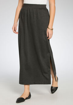 Maxi stretch ponte knit skirt,