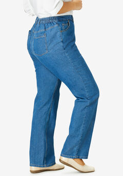 Side-Elastic Straight Leg Cotton Jean, MEDIUM STONEWASH
