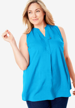 Sleeveless Tab-Front Shirt, BLUE SPLASH