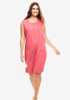 Sleeveless Henley Sleepshirt by Dreams & Co®, CORAL ROSE, hi-res