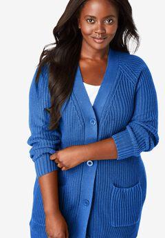 Long-Sleeve Shaker Cardigan Sweater, DEEP COBALT