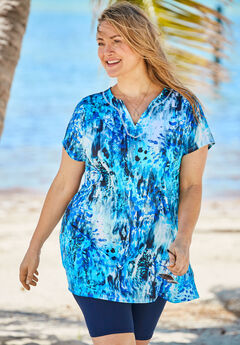 Longer Length Short-Sleeve Swim Tunic,