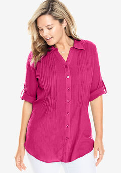 Cool gauze pintuck tunic, PASSION PINK, hi-res