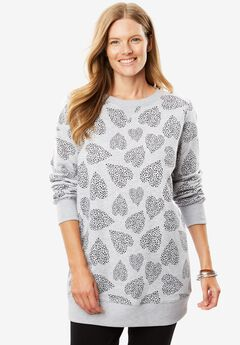 Soft knit Better Fleece sweatshirt tunic in solids and prints, HEATHER GREY STAR HEART, hi-res
