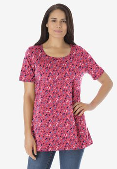 Perfect Printed Scoop Neck Tee, ROSE PINK LOVELY DITSY