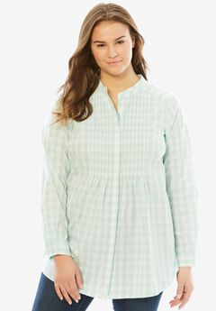 Pintuck Perfect Shirt, FRESH AQUA GINGHAM, hi-res