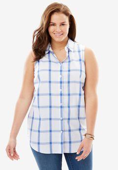 Perfect Sleeveless Button Down Shirt, FRENCH BLUE PLAID, hi-res