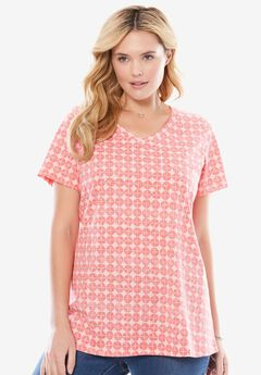 Perfect printed V-neck top, PINK ICE CIRCLE TILE, hi-res