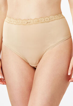 Lace-Trim High-Cut Microfiber Brief by Comfort Choice®,