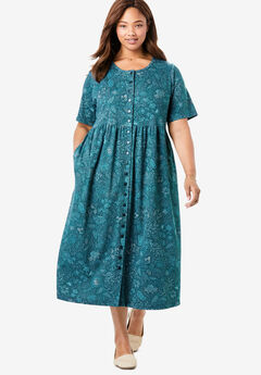Button-Front Essential Dress, MIDNIGHT TEAL STITCH FLORAL