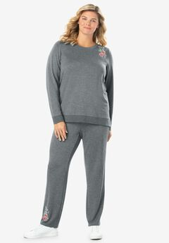 Printed French Terry Sweatsuit, MEDIUM HEATHER GREY FLORAL EMBROIDERY