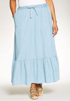 Chambray Drawstring Skirt, BLEACH, hi-res