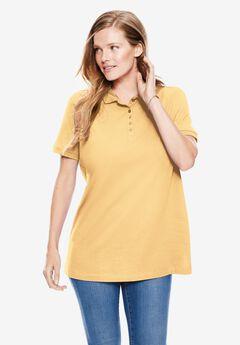 Perfect Short-Sleeve Polo Shirt, BANANA