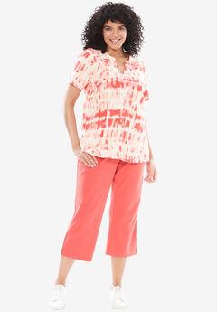 2-piece kurta tunic set, CORAL RED TIE DYE, hi-res
