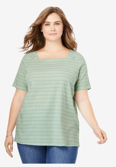 Shoulder Detail Square Neck Tee,