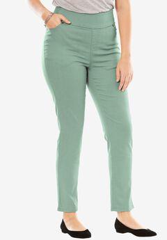 Smooth waist skinny jeans, DUSTY JADE, hi-res