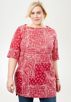 Perfect Printed Boatneck Tunic, CHERRY PATCHWORK