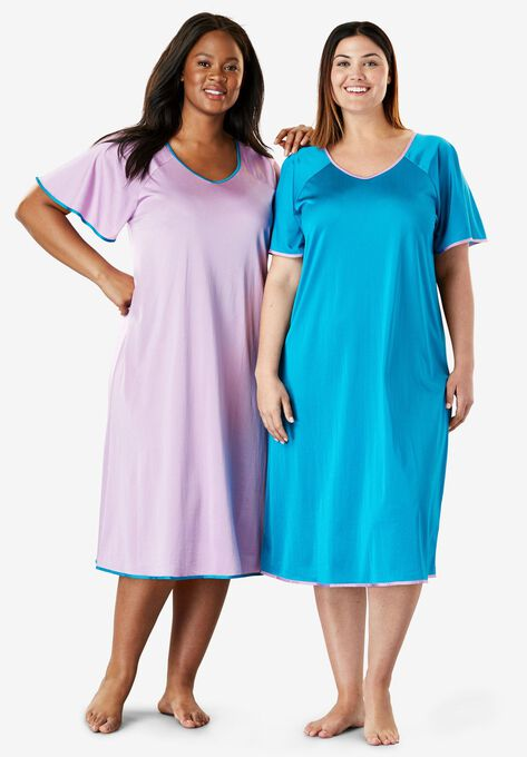 Short tricot knit 2-pack nightgown by Only Necessities® | Plus Size ...