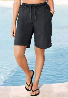 Taslon® Coverup Board Shorts with Built-In Brief by Swim 365,