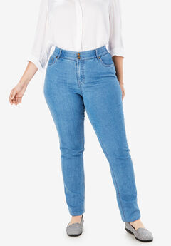 Straight Leg Tummy Tamer Jean, LIGHT STONEWASH