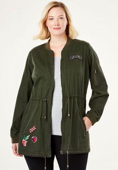 Long Bomber Jacket by Chelsea Studio®, FOREST NIGHT, hi-res
