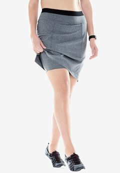 The sport skort by FullBeauty SPORT®, GREY MELANGE, hi-res