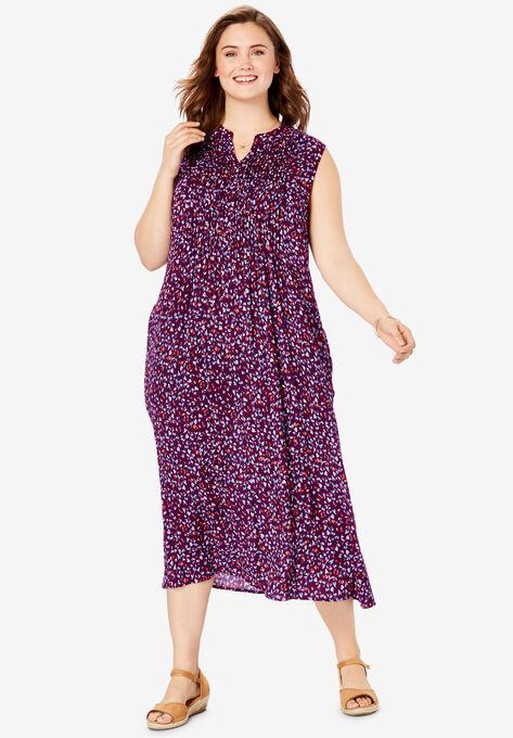 Sleeveless Pintuck Crinkle Dress  Plus Size Dresses   Woman ...