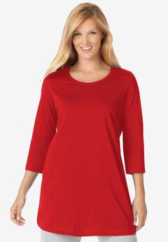 Perfect Scoop Neck Three-Quarter Sleeve Tunic, CLASSIC RED