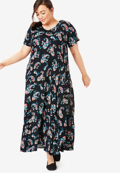 Crinkle Dress, BLACK FLORAL PAISLEY