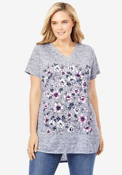 Marled V-Neck Tunic, NAVY PINK FLORAL PLACEMENT