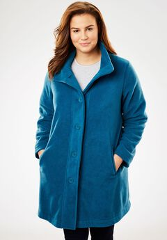 Cozy Fleece Swing Jacket, BLUE TEAL, hi-res
