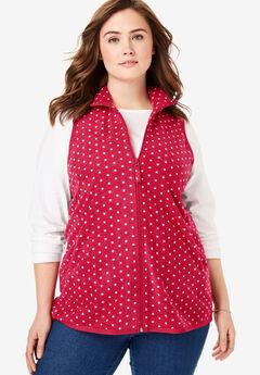 Zip-Front Microfleece Vest, CLASSIC RED DOT