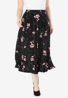 A-Line Knit Midi Skirt,