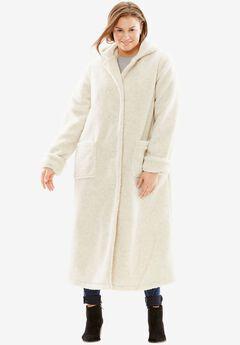 Hooded Berber Fleece Duster Coat, OATMEAL, hi-res